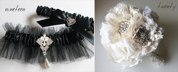 art deco wedding garter brooch bouquet