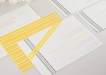 assymetrical ribbons wedding invitations