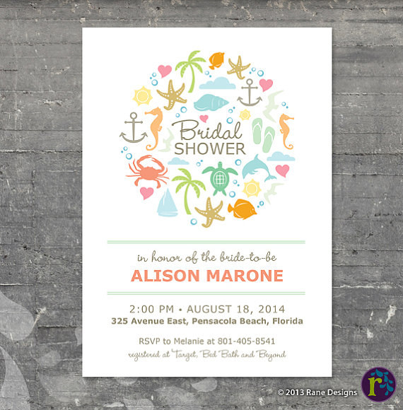 Beach Bridal Shower Ideas - invitation by Rane Designs