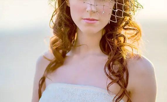 beach wedding net veil