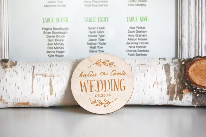 birch wedding coasters personalized