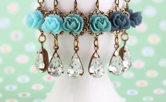 blue flower dangle earrings