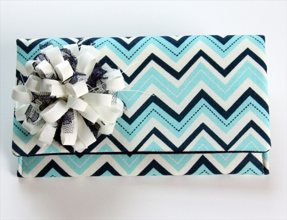 blue white chevron clutch purse