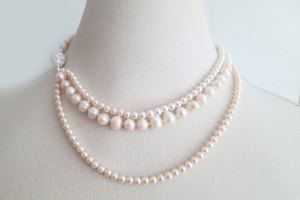 blush and ivory pearl necklace