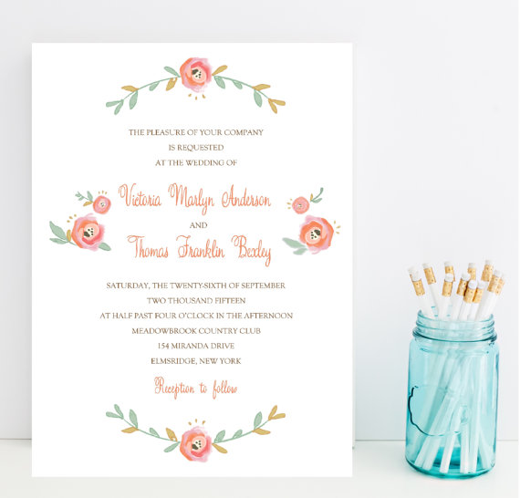 blush floral wedding invitations