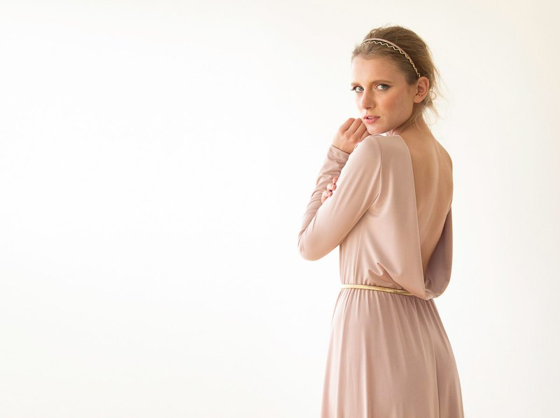 Blush Pink Bridesmaid Maxi Dress | via Bridesmaid Maxi Dresses http://emmalinebride.com/bridesmaids/bridesmaid-maxi-dresses/