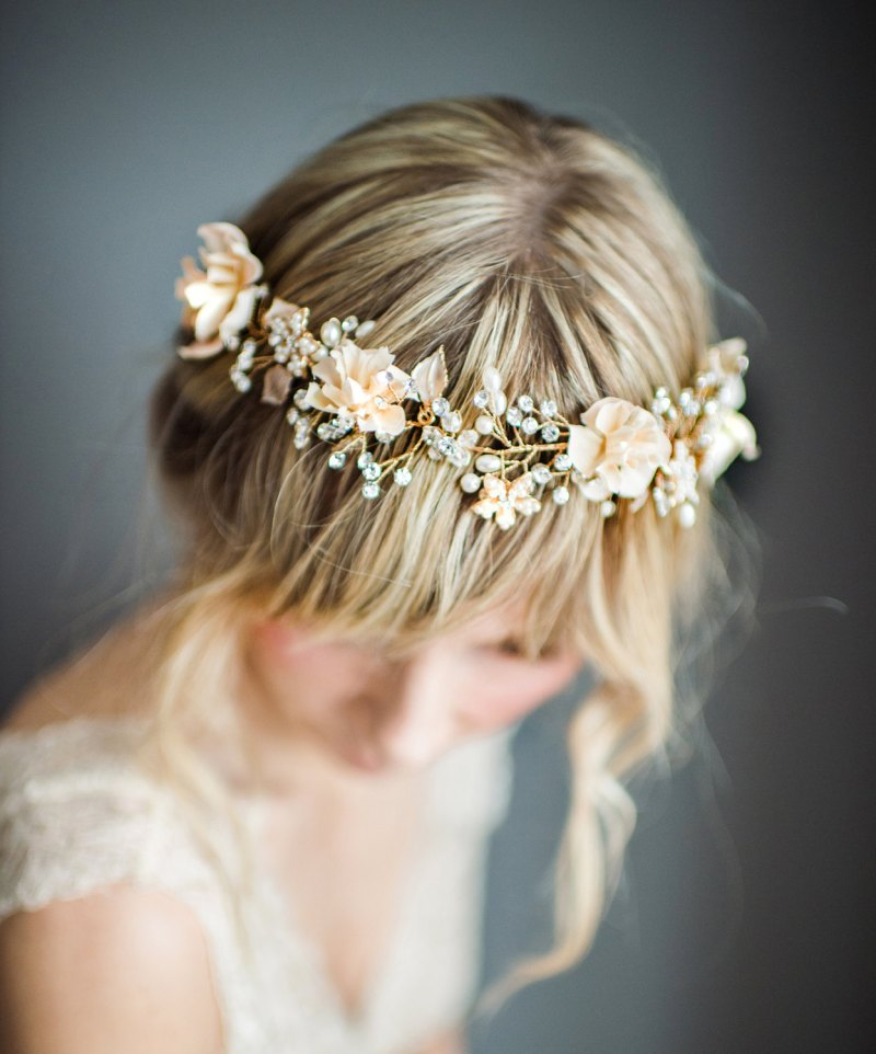 Bohemian Wedding Hair Wreath | http://emmalinebride.com/bride/bohemian-wedding-hair-wreath/