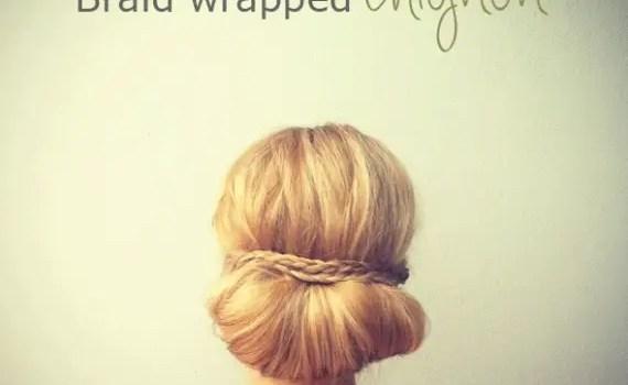 braid-wrapped chignon