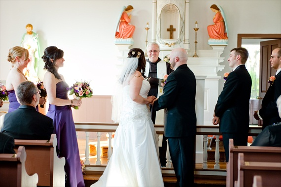 Vintage Fall Wedding - bride and groom at altar