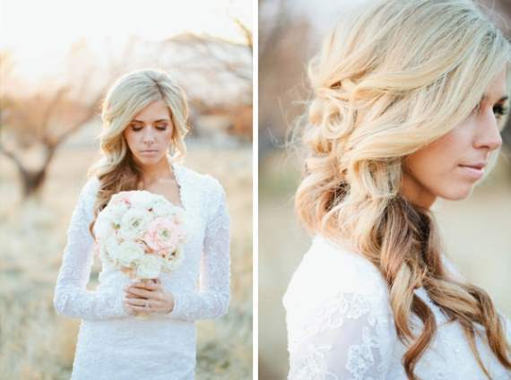 bride curly long wedding hairstyle