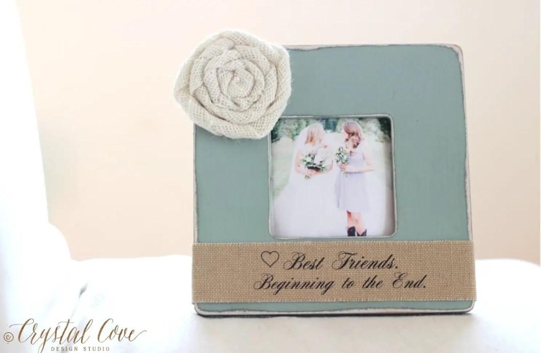 bridesmaids photo frame with burlap | 50 Best Burlap Wedding Ideas | via http://emmalinebride.com/decor/burlap-wedding-ideas/