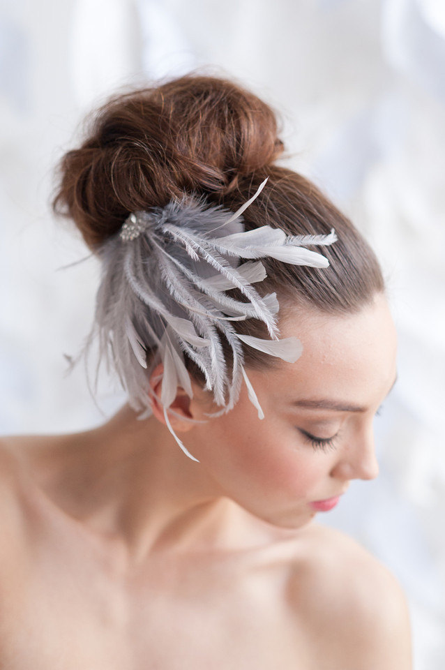 brooch feather hair piece