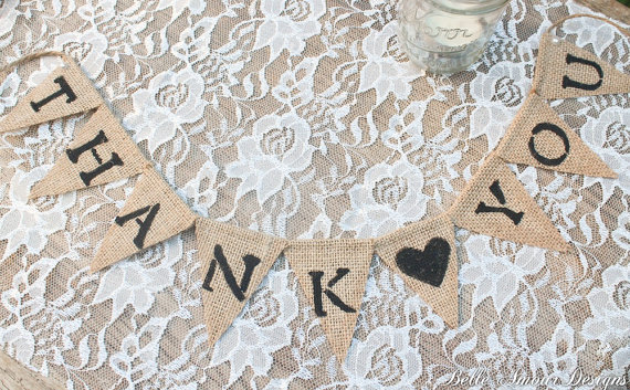 Burlap Wedding Banners - thank you