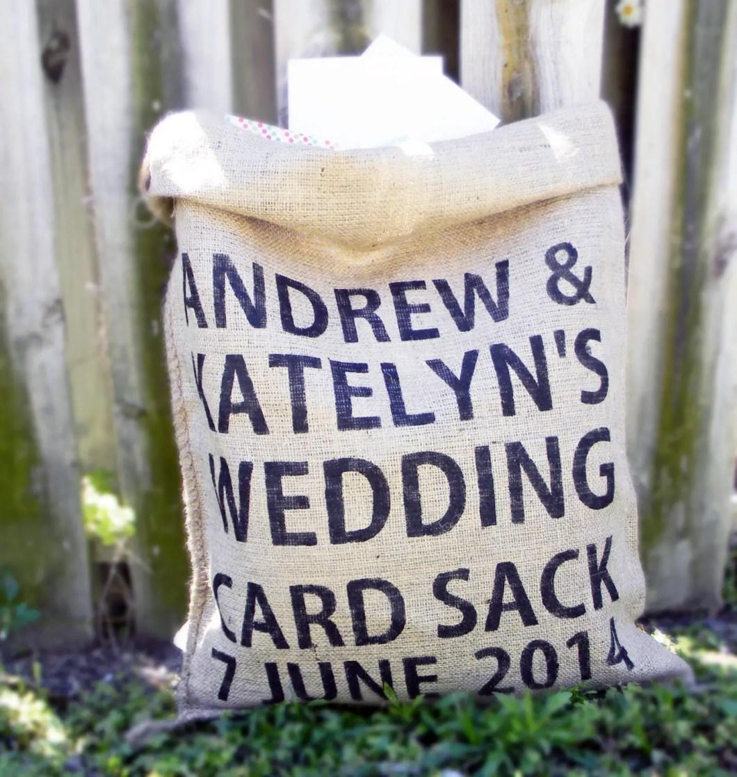 burlap card sack | 50 Best Burlap Wedding Ideas | via http://emmalinebride.com/decor/burlap-wedding-ideas/
