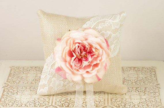 burlap ring pillow with lace and pink flower