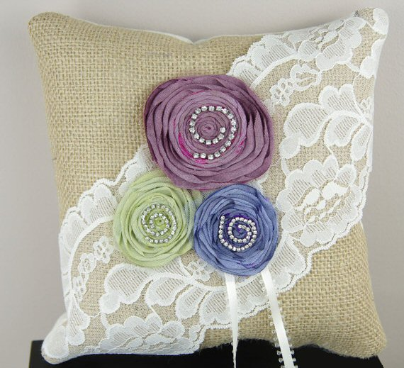 burlap ring pillow with rosettes in purple