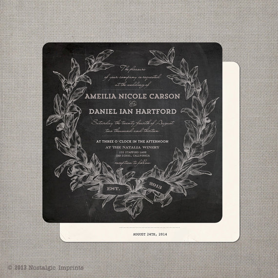 14 Chalkboard Wedding Ideas - chalkboard wedding invitation (by nostalgic imprints)