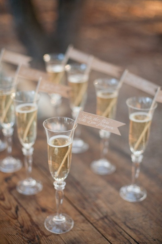 champagne drinking glasses (photo: michael and anna costa) via 8 Creative Wedding Drink Glasses