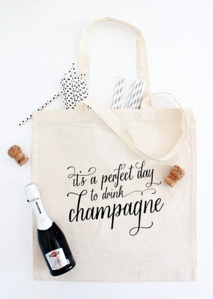It's a Perfect Day to Drink Champagne Tote Bag | What to Put in Wedding Welcome Bags | http://emmalinebride.com/planning/wedding-welcome-bags/