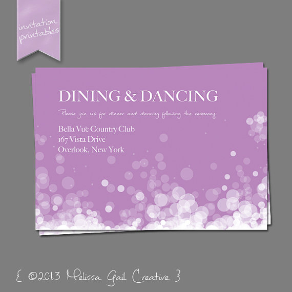 DIY Printable Wedding Invitations (by Melissa Gail Creative) - champagne bubbles in purple