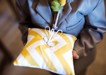 chevron-wedding-ring-pillow-yellow