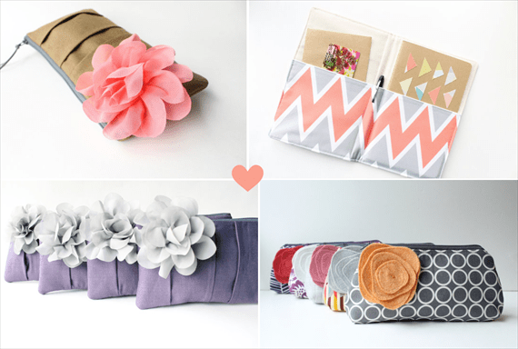 Clutch Purses for Bridesmaids (by Allisa Jacobs via Emmaline Bride)
