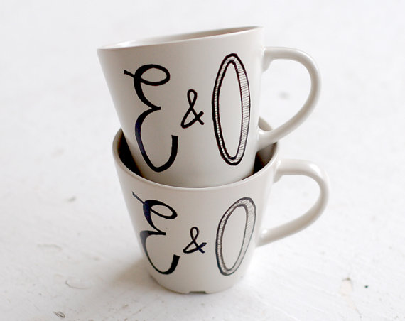 reusable wedding decorations - custom cartoon coffee mugs