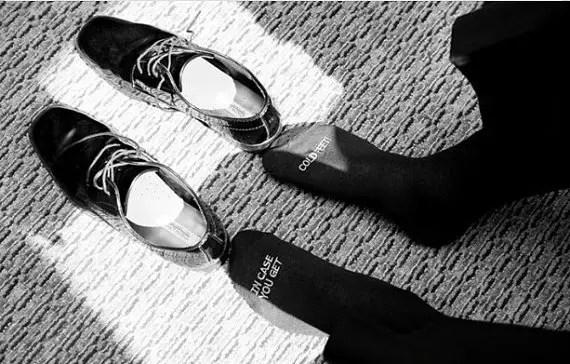 cold feet groom socks photo