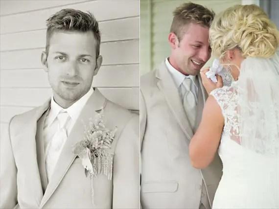 KimAnne Photography - iowa-backyard-wedding - groom ready-with-bride-first-look