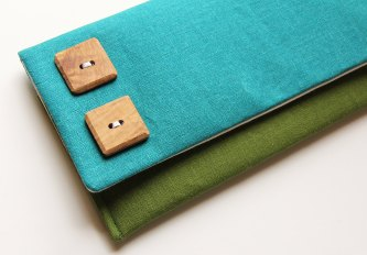 color block teal and fern fold over clutch purse