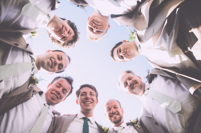 Great circle shot of the groomsmen | Photo: Searching for the Light Photography LLC | via http://emmalinebride.com/real-weddings/colorado-chic-wedding-kendall-brian/