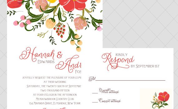 colorful floral wedding invitations