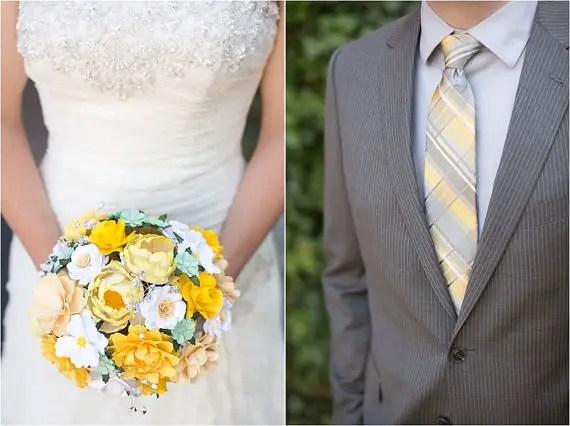 coordinate paper bouquet to color palette | wedding bouquets made of paper via emmalinebride.com