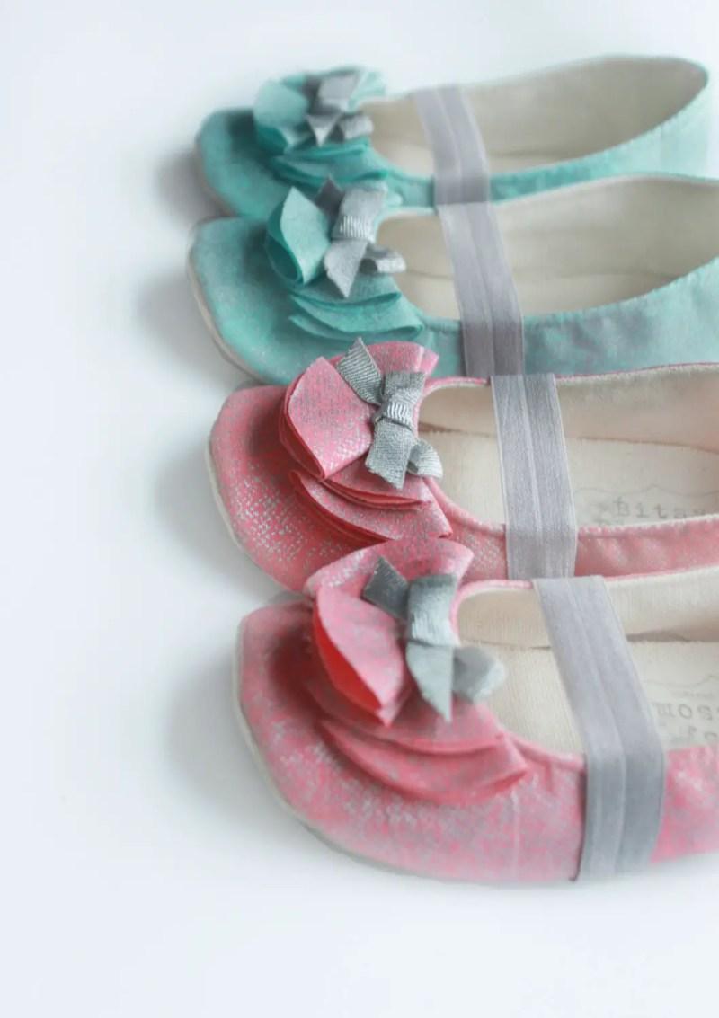 coral or aqua flower girl shoes  | handmade flower girl shoes via http://emmalinebride.com/spring/handmade-flower-girl-shoes/