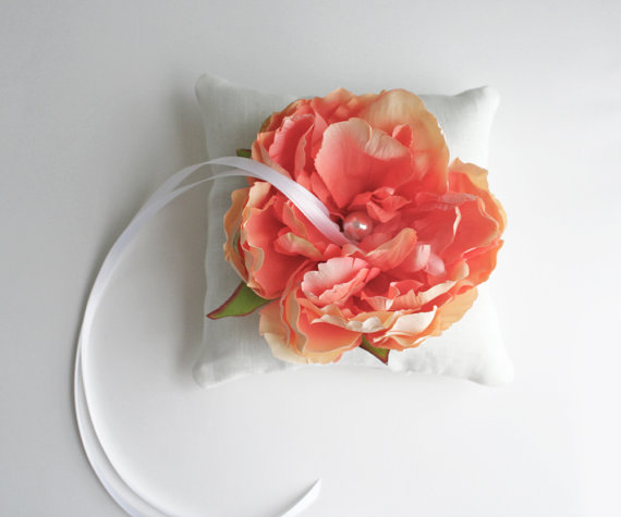 coral ring bearer pillow with flower by Laura Stark