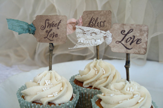 Wedding Cupcake Ideas: cupcake toppers (by Pink Cherry Mama)