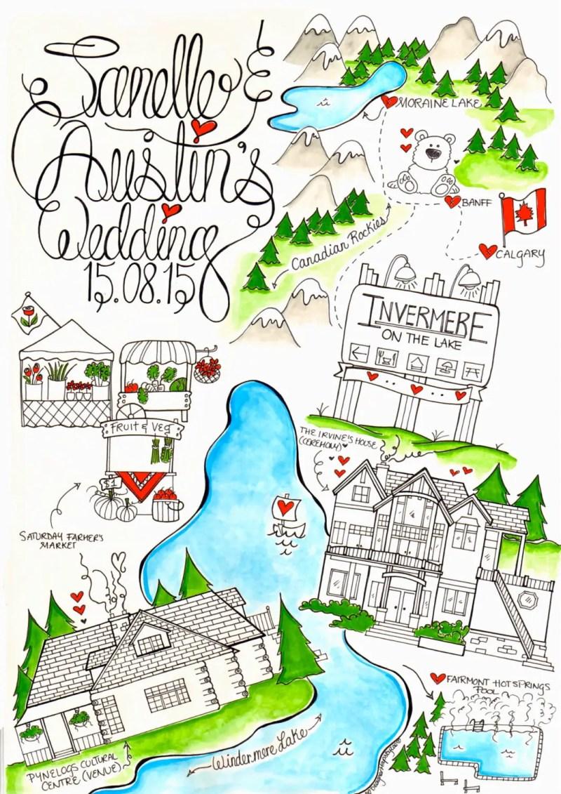 custom map for wedding invitation long image
