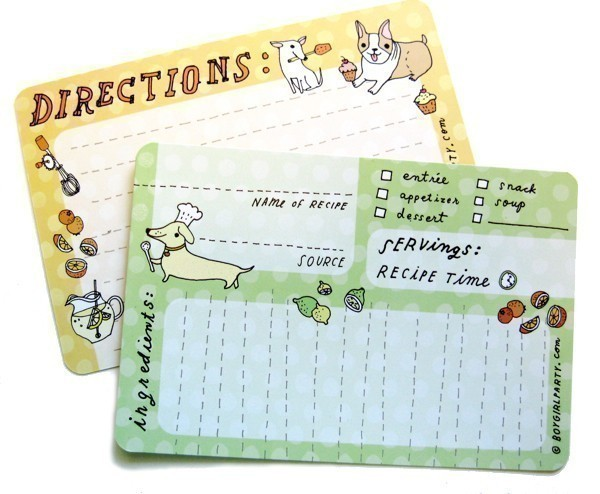 cute dog print kitchen recipe cards