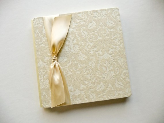 damask print ivory guest book