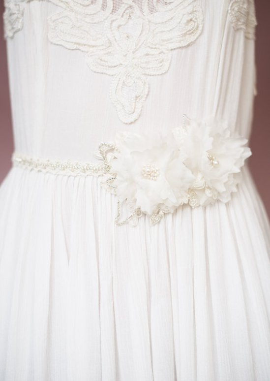 floral headband turned sash | Bridal Headband With Veil via http://emmalinebride.com/bride/bridal-headband-with-veil/
