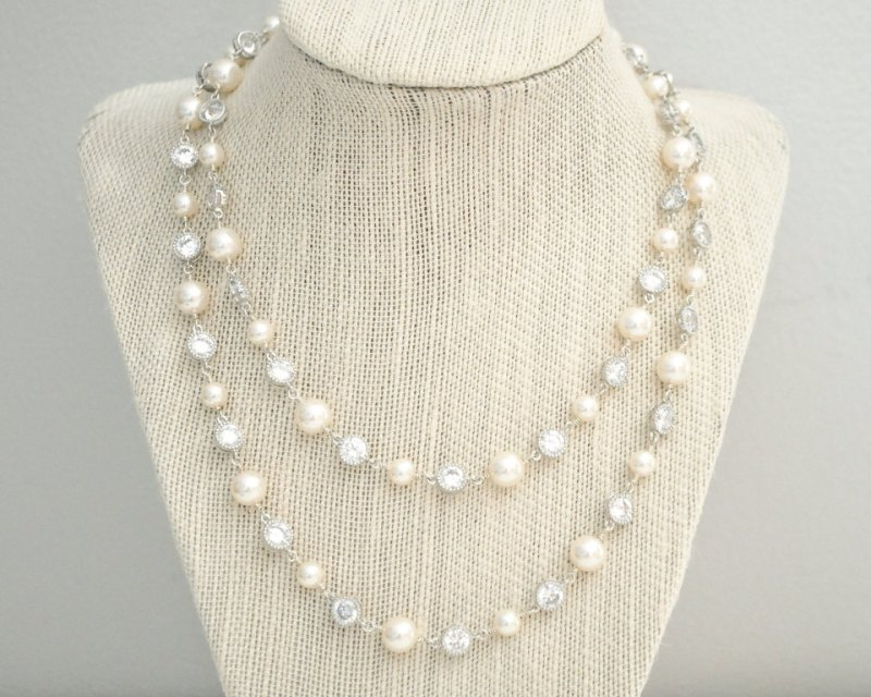 double strand pearl necklace with cz