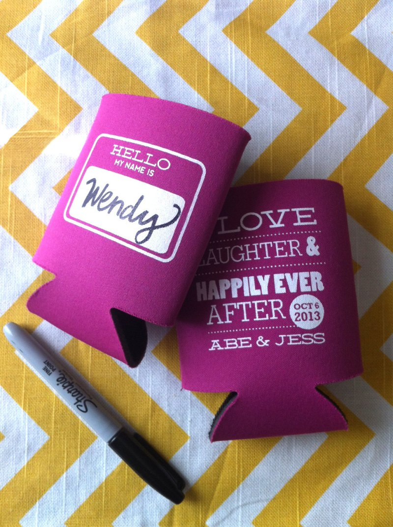 drink koozie wedding favors hello my name is