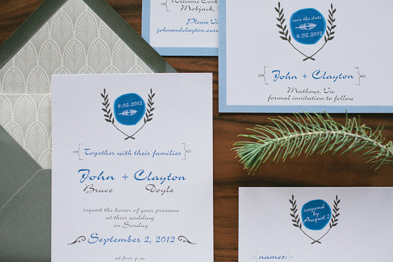 elegant nature folk wedding invitations