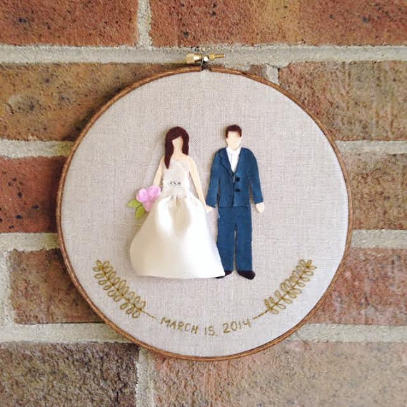 embroidery hoop bride groom wedding hoop art