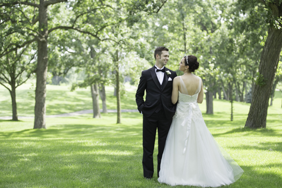 Rebecca Borg Photography - Elgin Country Club Wedding - bride and groom in classic look outdoors