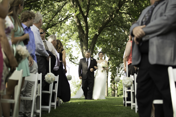 Rebecca Borg Photography - Elgin Country Club Wedding - father walks bride down the aisle with guests watching