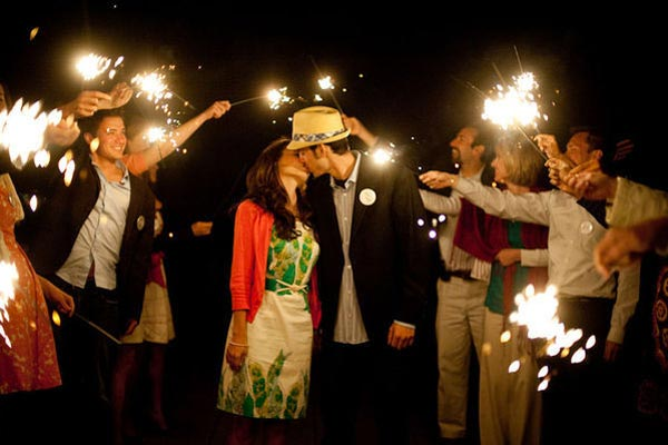 How to Plan an Engagement Party - don't forget the sparklers! Photo by Abby Jiu.