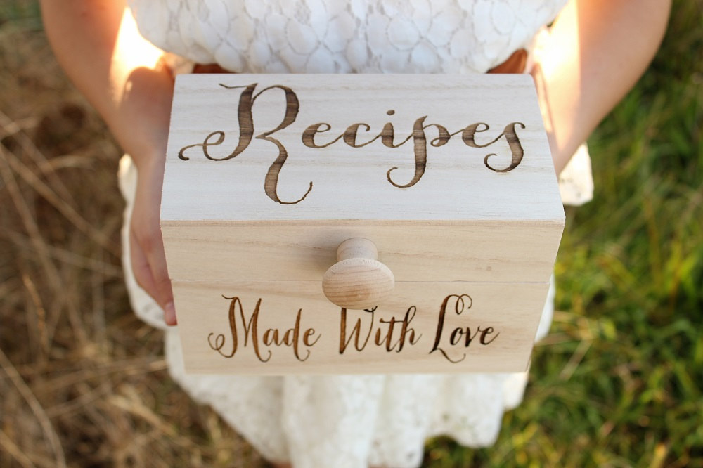 engraved wood recipe box