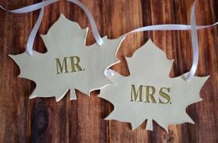 custom wedding chair signs | fall leaf wedding chair signs