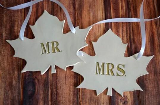custom wedding chair signs   fall leaf wedding chair signs